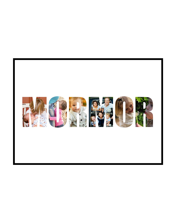 Image of   Navnecollagen 'MORMOR' med 6 billeder - vi designer for dig